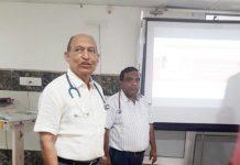 डॉ. श्याम अग्रवाल हॉस्पीटल एंड रिसर्च सेंटर में संगोष्ठी को संबोधित करते डॉ. महेश शर्मा।