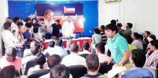जयपुर में प्रेस वार्ता करते वरिष्ठ नेता घनश्याम तिवाड़ी।